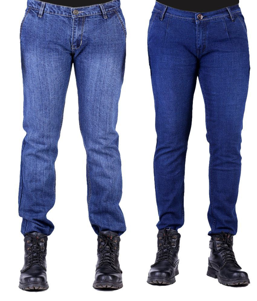 Ansh Fashion Wear Men's Jeans Combo Of 2 Denim Jeans With Free 1 Pair Of Assorted Socks