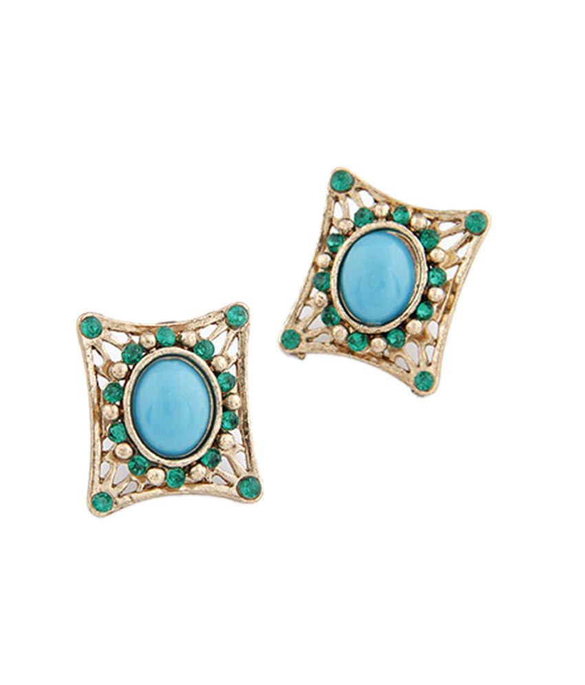 Jewel Touch Blue Green Jewel Touch Stud Earings