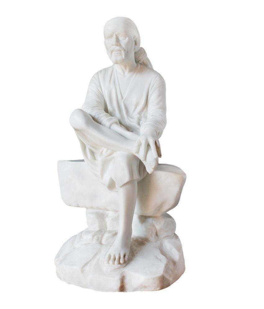 Karara Mujassme Handmade White Poly Marble Sai Baba Statue Indian Hindu God  Lucky Home Decor Gift