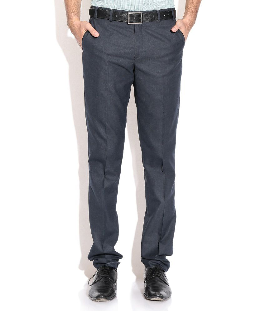 Wills Lifestyle Navy Regular Formals Trousers & Chinos