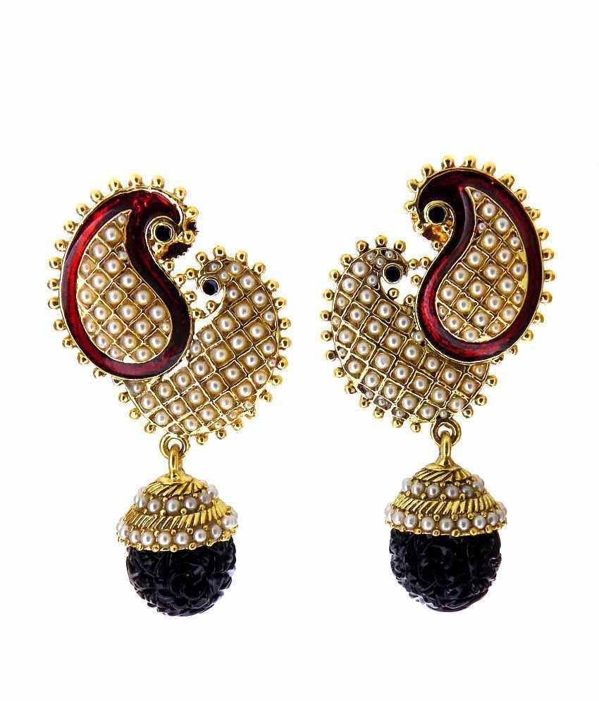 Aabhushan Jewels Onyx & Pearl Look Gold Plated Earrings For Women
