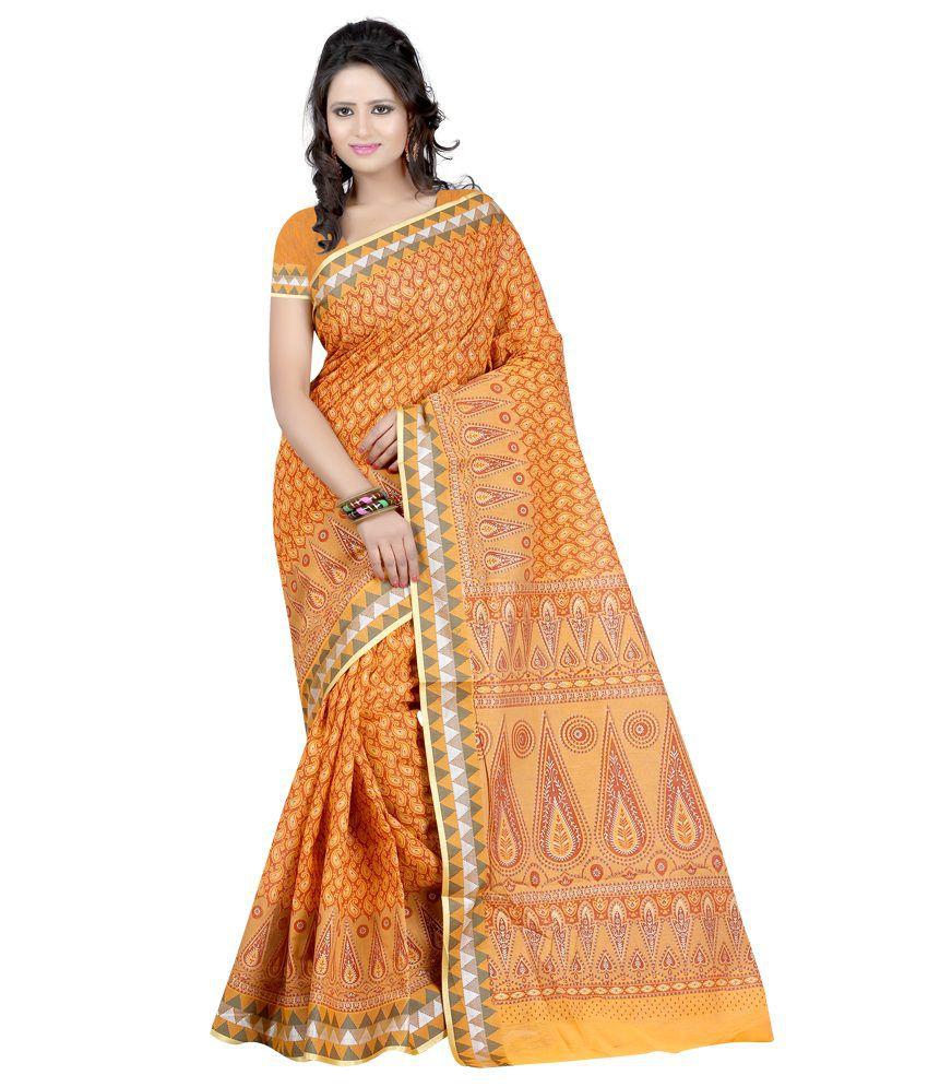 Ansu Fashion Yellow Cotton Saree