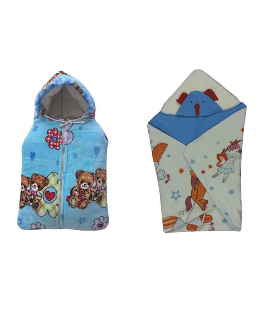Cute Baby Combo Of Teddy Print Baby Sleeping Bag And Blue Head Covering Baby Holding Sheet