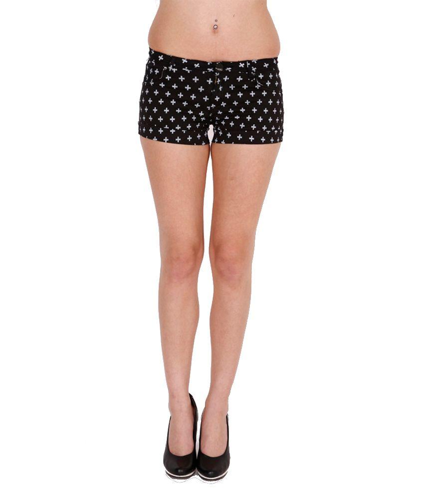 Deal Jeans Black Polyester Short Skinny Shorts