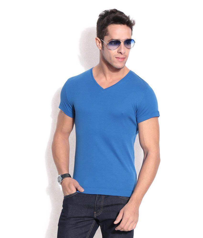 Hues Blue Basic V-neck T-shirt