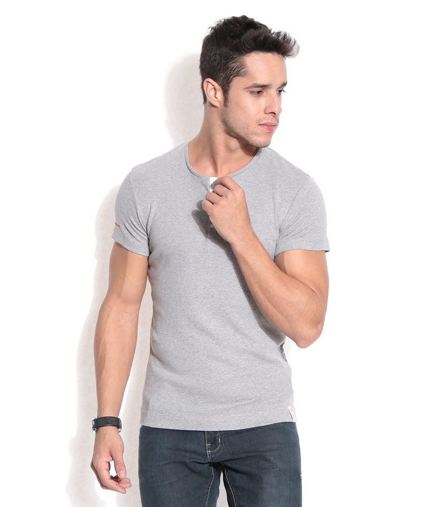 Hues Grey Melange Basic Henley T-shirt