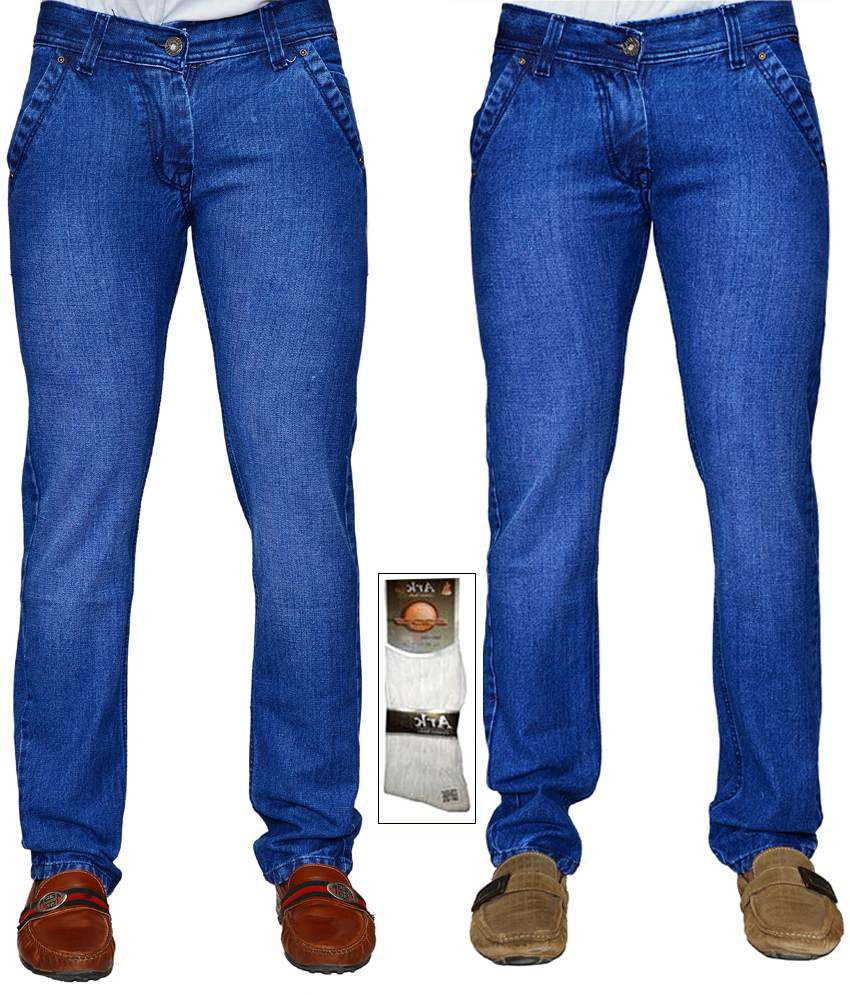 Ansh Fashion Wear Combo Of 2 Denim Jeans With 1 Pair Of Assorted Socks
