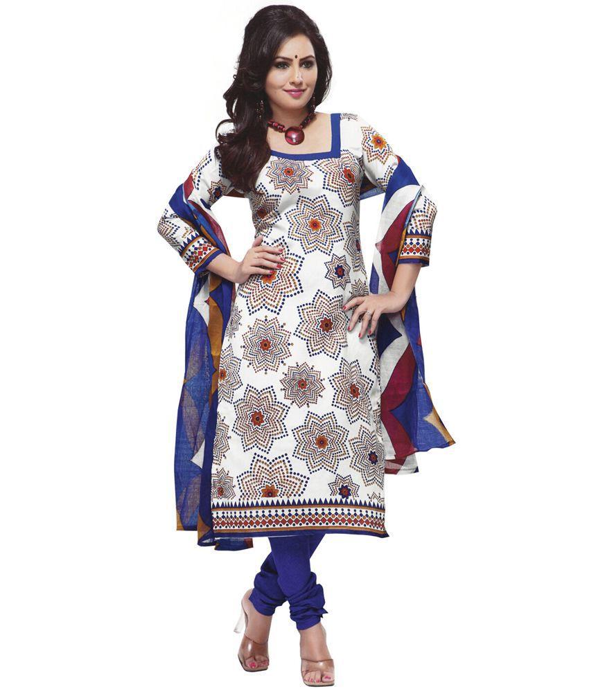 Gitanjali Gitanjali Multi Cotton Printed Dress Material (Multicolor)
