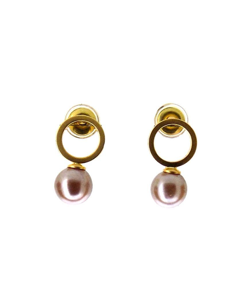 Aabhushan Jewels Gold Plated Gemstone Look Bali Earrings For Women