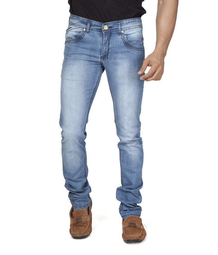 Fumere Blue Cotton Blend Basic Slim Jeans