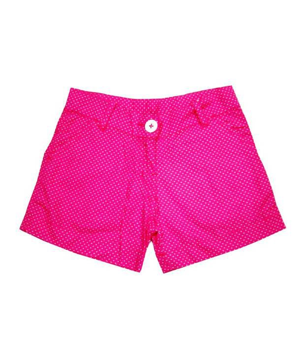Catapult Girl's Pink Polka Printed Shorts