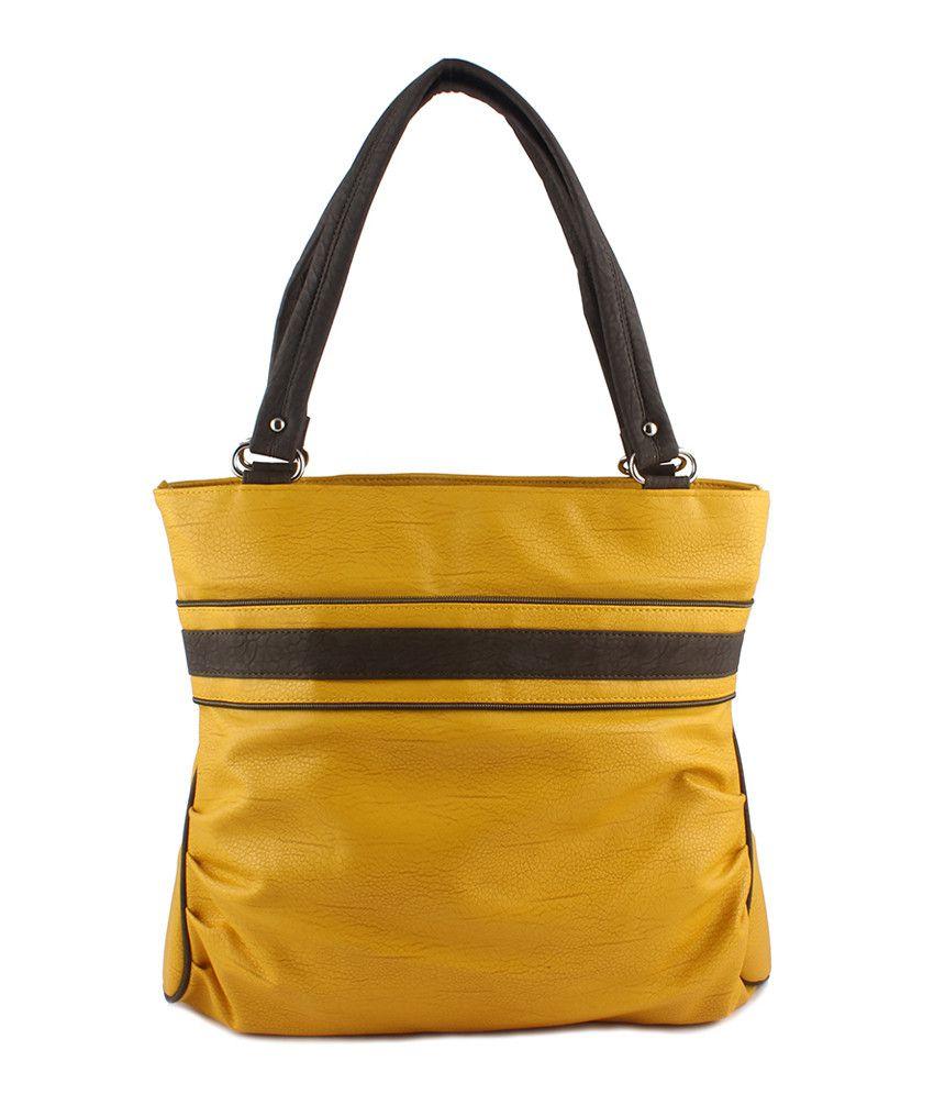 Dernier Cri Yellow Brown Hand Bag