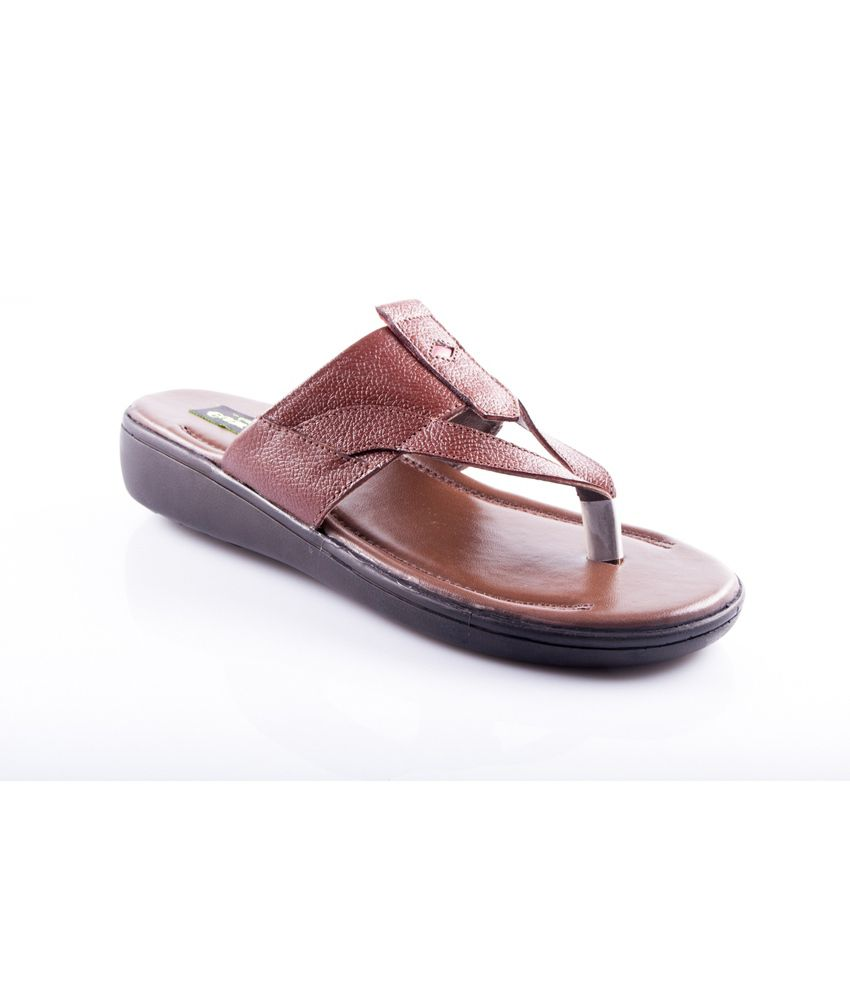 72998e8f9fe294 Guardian Brown Leather Mens Thong Slippers Price in India- Buy Guardian  Brown Leather Mens Thong Slippers Online at Snapdeal