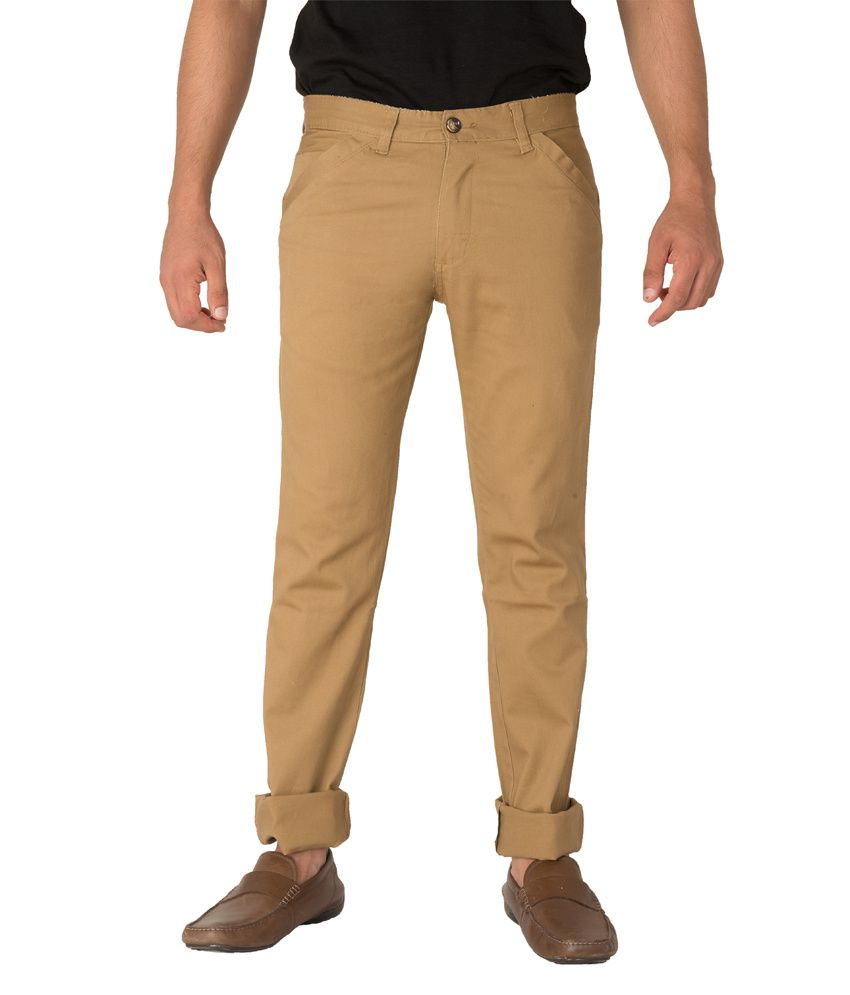 Imyoung Khaki Cotton Blend Slim Casuals Chinos