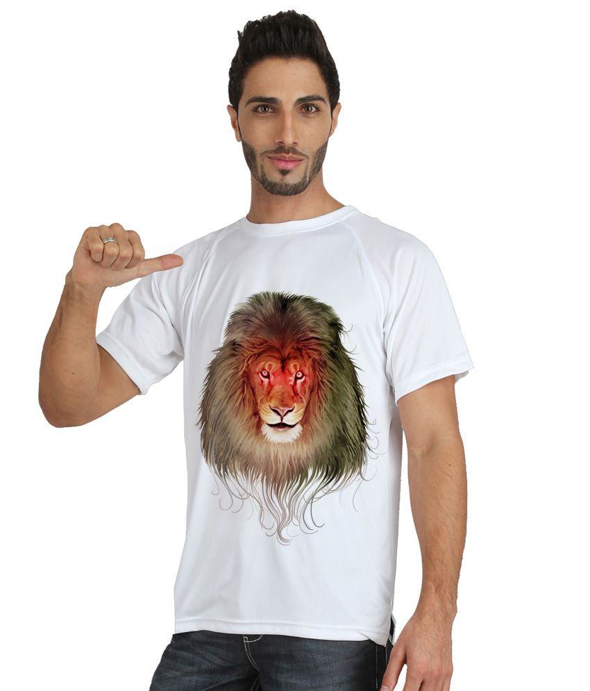 Trionic Men's Printed Round Neck T-shirt - Lion - Snow White