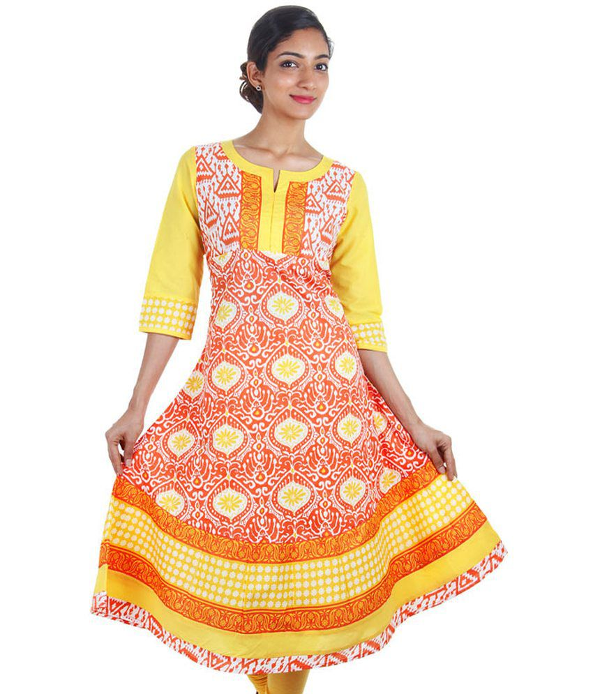 Estyle Sun Orange Estyle Wide Flare Anarkali Kurta