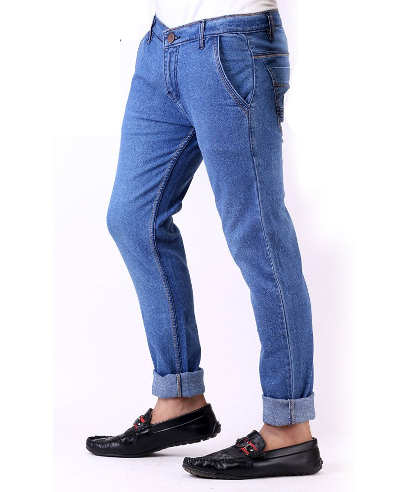 Ansh Fashion Wear Fashion Wear Streachable Blue Denim Jeans With Free Watch