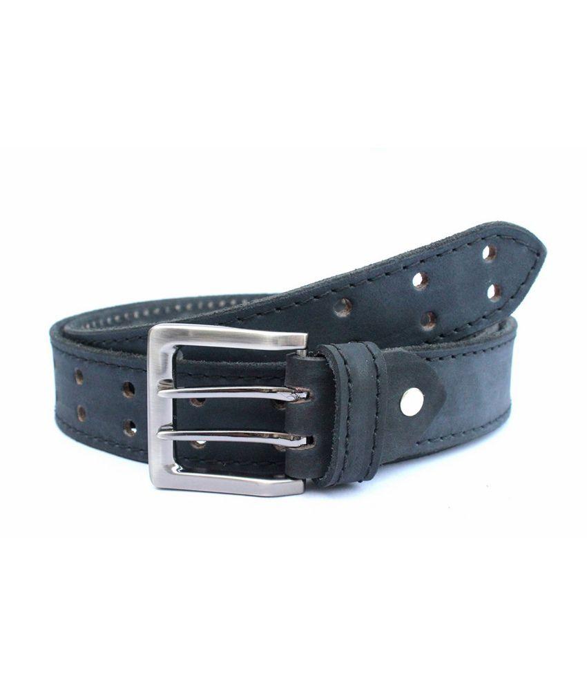 Tops Men Black Coloured Newbuck Leather Belt