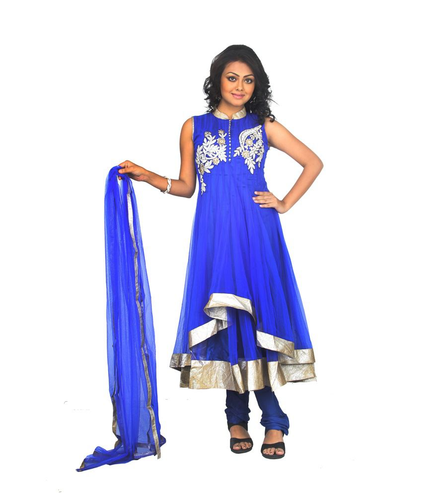 V R Apparels Blue Net Traditional Wear Embroidered Anarkali