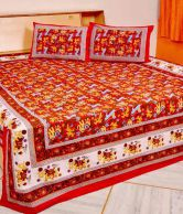 J-tex Rajasthani Jaipuri Double Bedsheet Rajasthani Traditional Jaipuri Elephant Printed Double Bedsheet