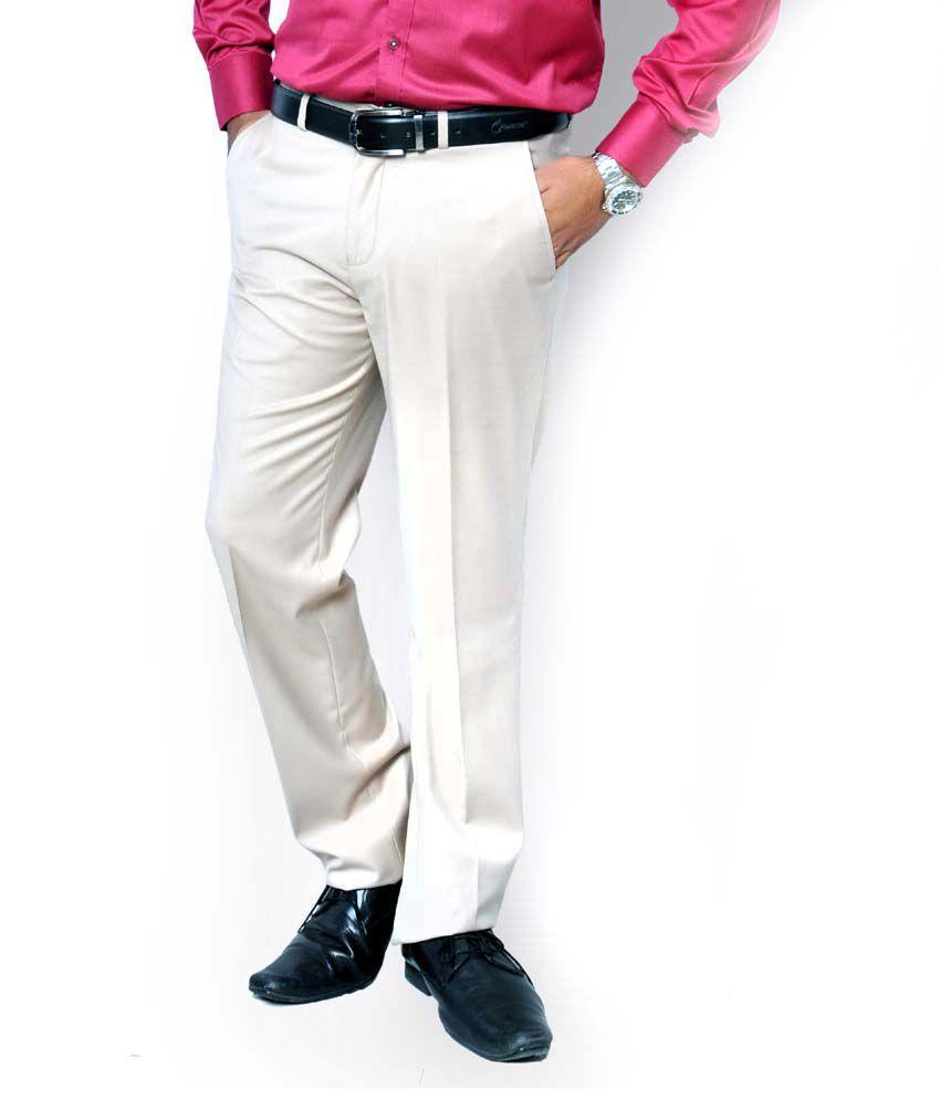 J Hampstead Men Cream Colour Smart Fit Formal Trousers