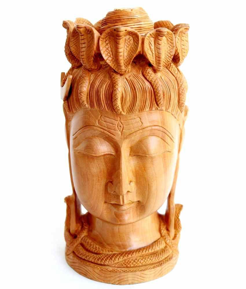 Craftsgallery Wooden Shiva Head Statue Fine Sculpture For Home Decor - 8 Inch