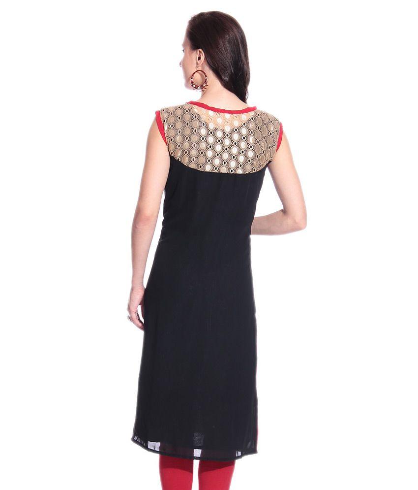 Shirt design with laces -  Grace Designs Black Plain Kurti In Elegant Golden Lace Style