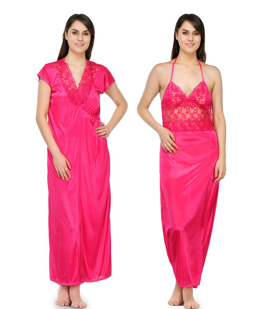 Oleva Pink Satin Nightsuit Sets Pack of 2