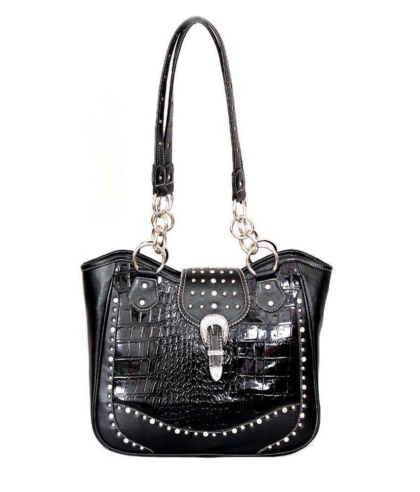 Saiva Black Reptile Pattern Western Styletote Handbag Studded With Rhinestones, Silver Tone Hardware, Sparkling Show Buckle
