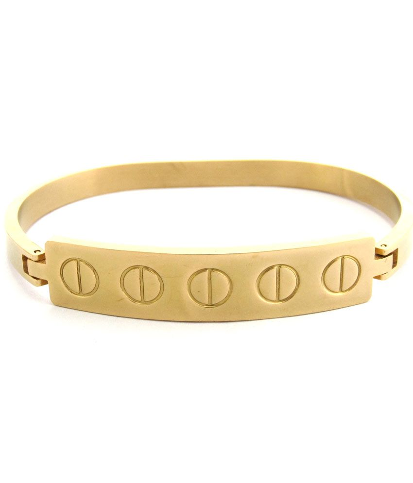 The Jewelbox Italian Solid Slim Stainless Steel Gold Plate Openable Oval Kada