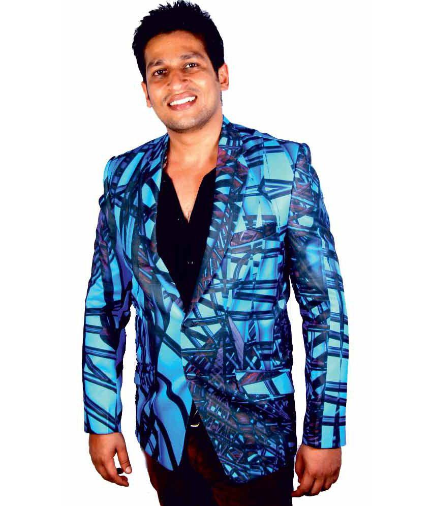 Kt Multi Colour Poly Blend Party Wear Printed Blazer