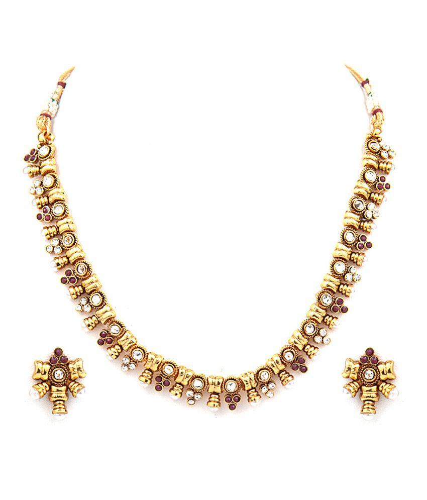 Aaina Multicolor Festive Traditional Gold Plated Necklace Set
