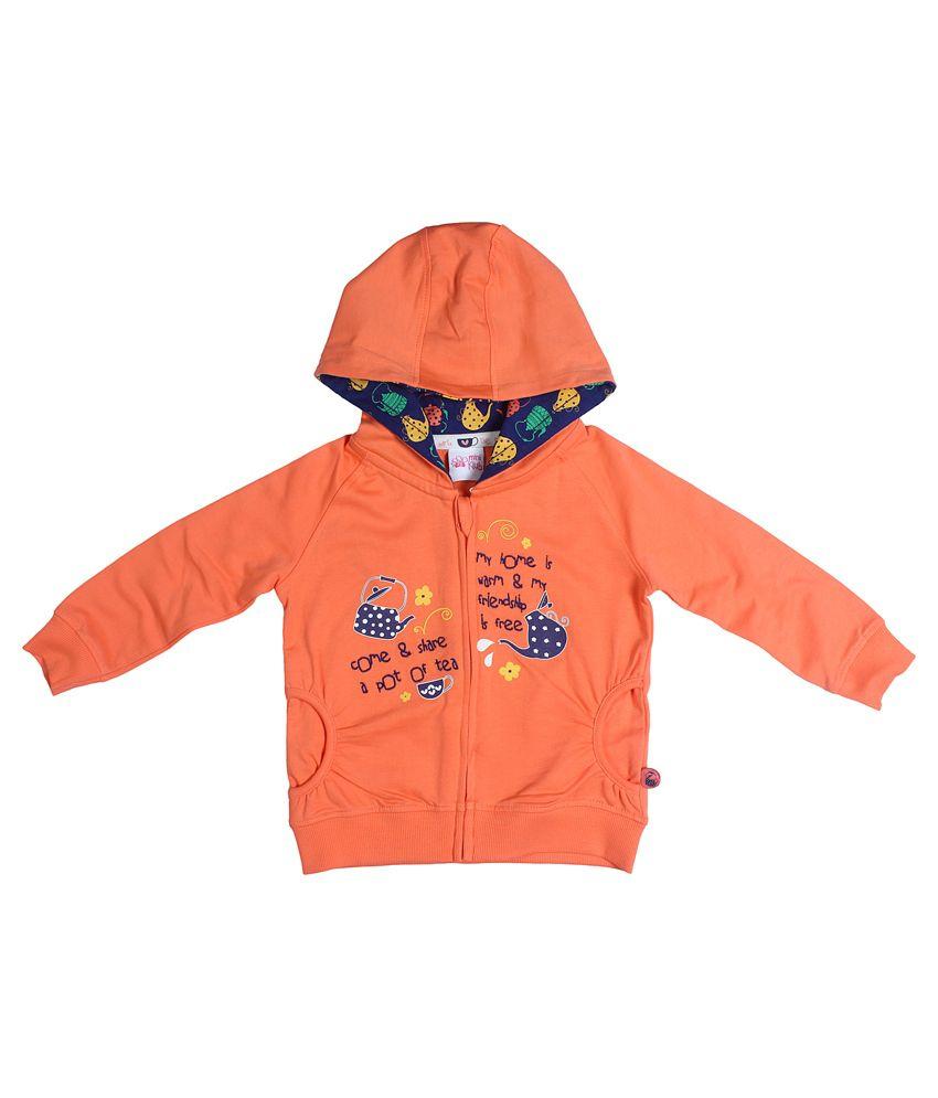 Fs Mini Klub Long Sleeves Coral Color Hooded Sweatshirt For Kids