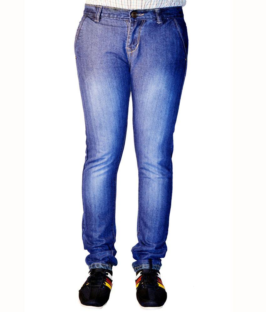 Haltung Faded Streachable Blue Men Denim Slim Fit Jeans