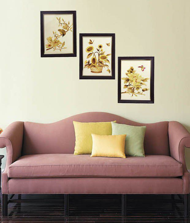 Indianara 3 Piece Set Of Framed Wall Art - Sparrow, Butterfly & A Basket Of Sunflowers