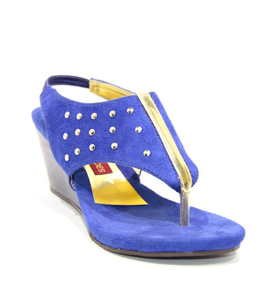 Pawar Shoes Blue Platform Sandal
