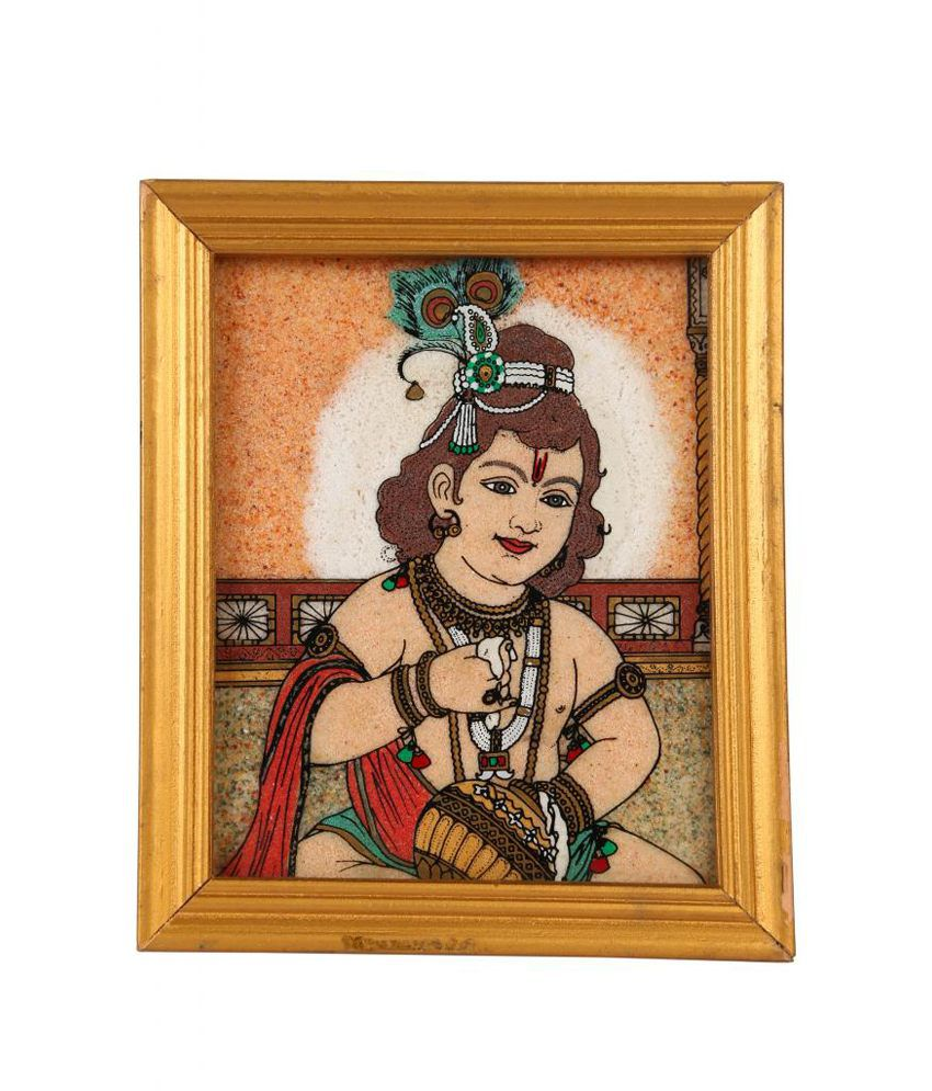 Satyamani Magical Collection Little Kanha Handicraft Painting In Natural Crystals
