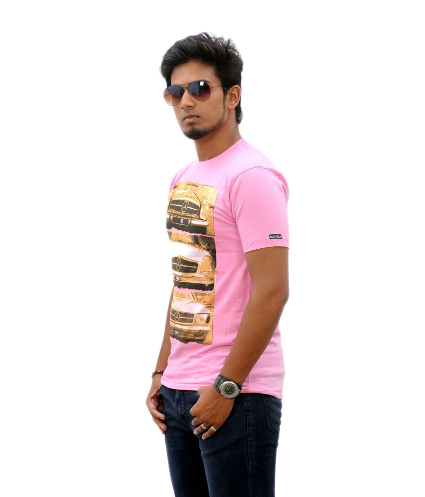 Stylefox Pink Cotton Printed Half Sleeves T-shirt