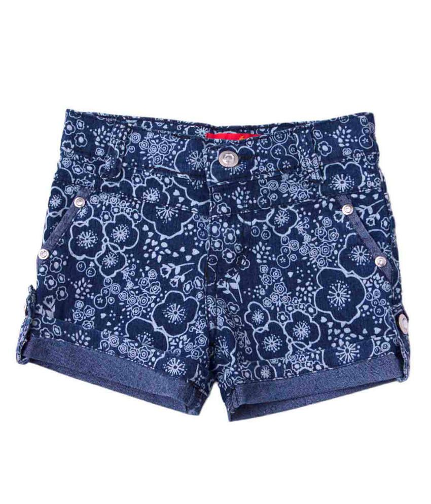 Tangerine Black Cotton Denim Floral Shorts