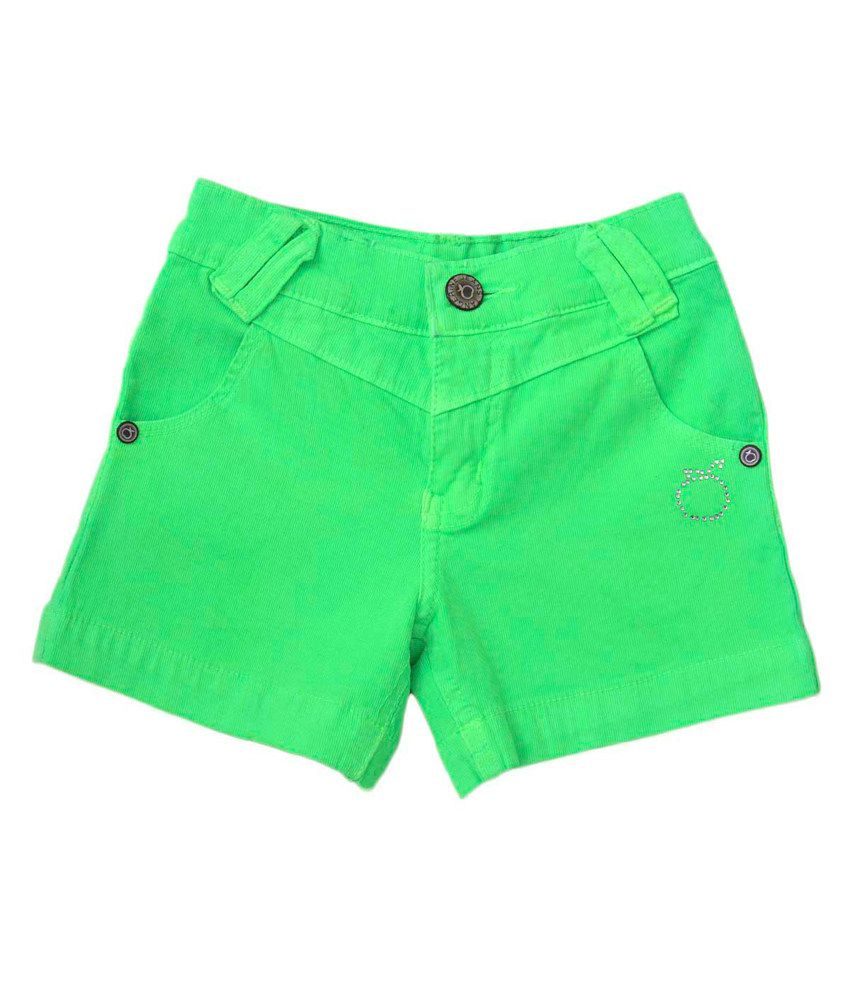 Tangerine Green Cotton Solid Green Shorts