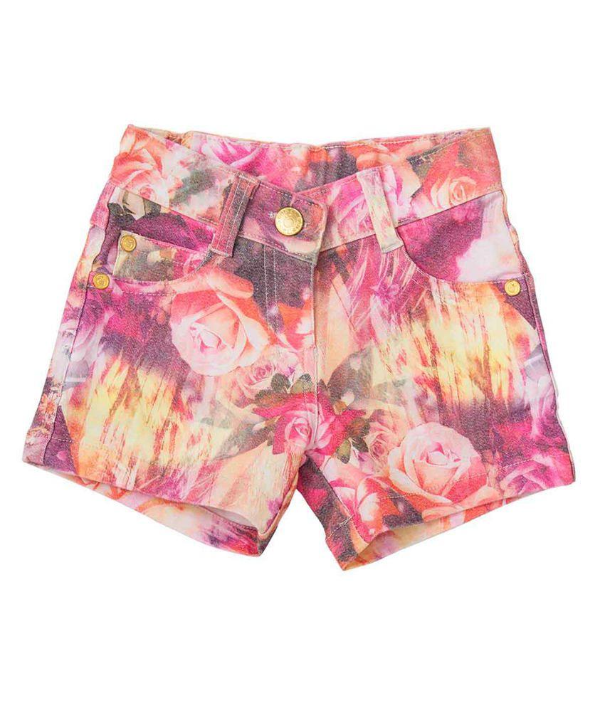 Tangerine Pink Cotton Floral Shorts