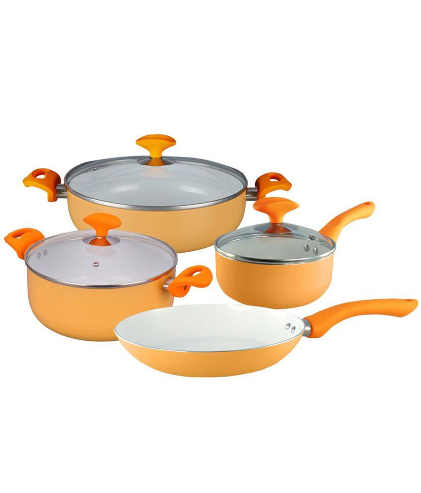 Wonderchef Orange Aluminium 4 Seasons Cookware Autumn Set