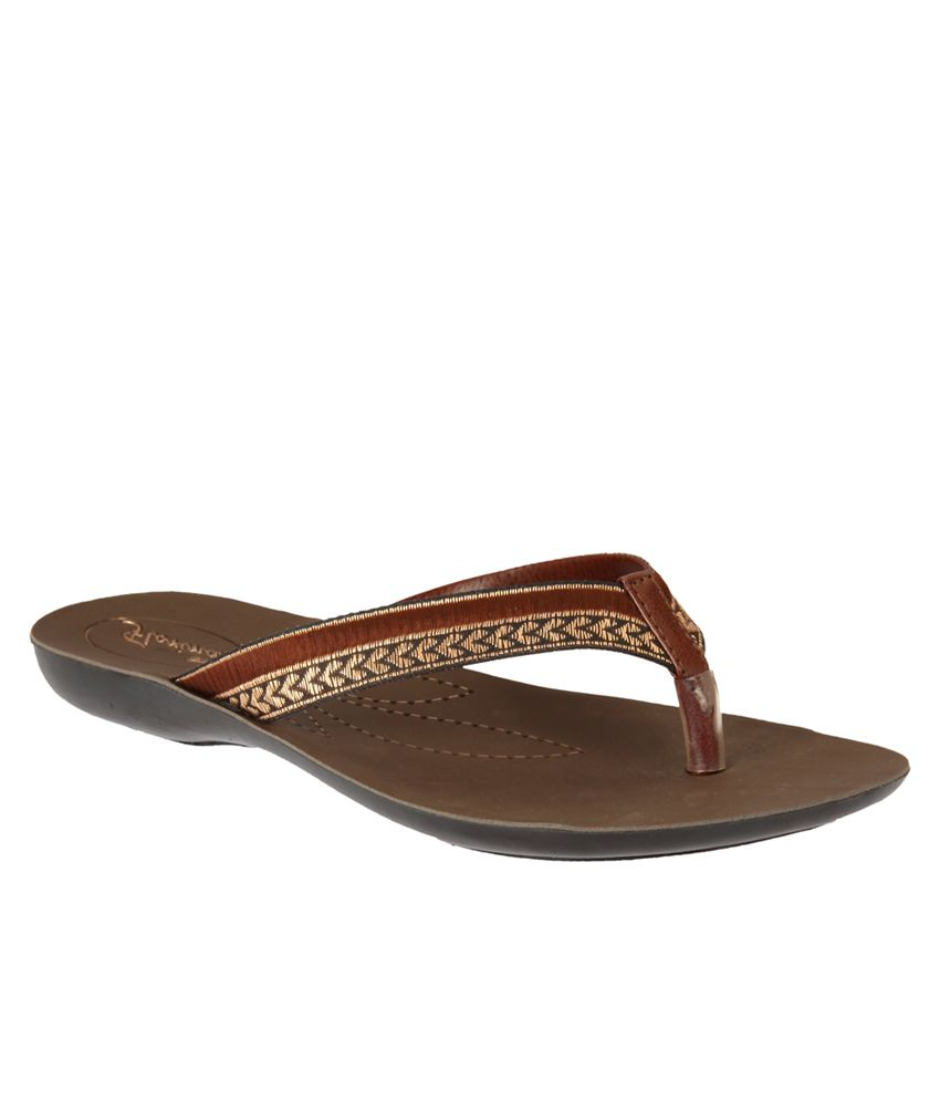 Action Brown Flat Sandals For Women