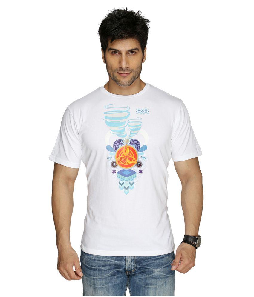 Imagica White Cotton T-shirt