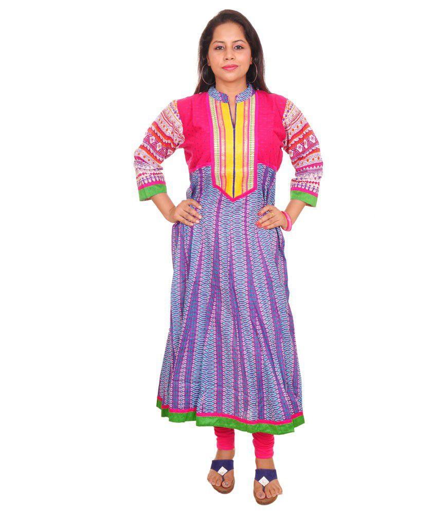 Pride Trends Cotton Anarkali Kurti With Pink & Purple Combination