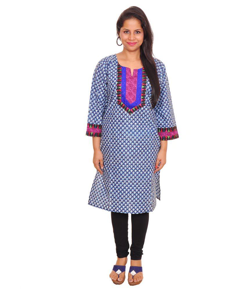 Pride Trends Printed Cotton Kurti In Blue Or White Combination