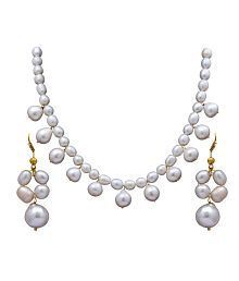 0035e9c4a1d Quick View. Dd Pearls Semi Precious Stately White Freshwater Droplets Pearl  Necklace Set For Women