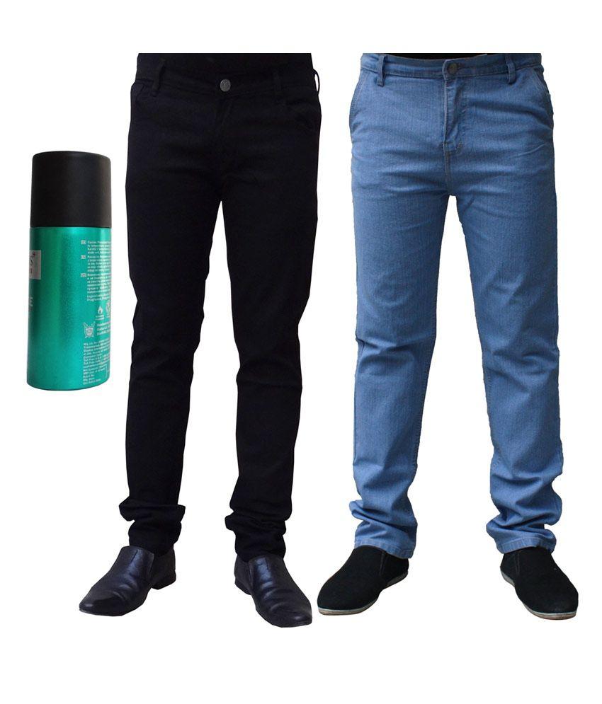 Ben Carter Men's Jeans-Combo of 2 Denims with Free DEODORANT