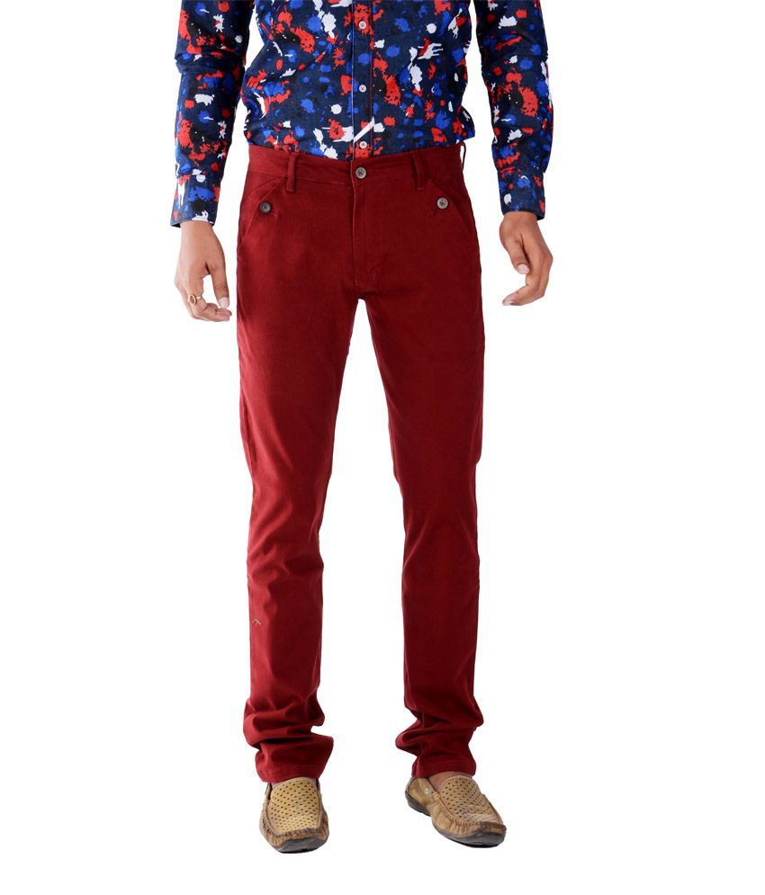 Bendiesel Red Cotton Lycra Casuals Trousers