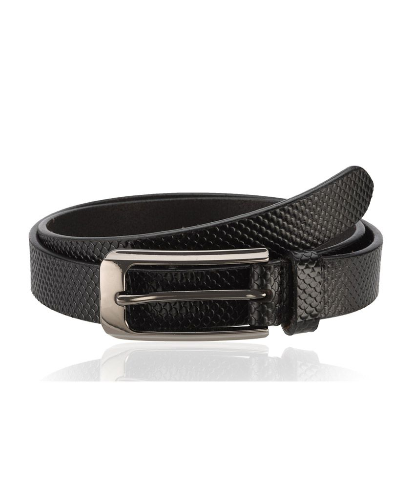 Contrast Black Leather Textred Formal Women Belt
